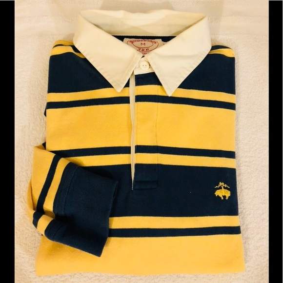 df82d40570041 Brooks Brothers Other - Brooks Brothers Navy   Yellow Stripe Rugby Shirt M